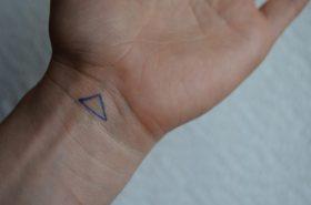Tracing homemade tattoo skewed