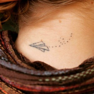 Stick and poke tattoo ideas - Paper plane