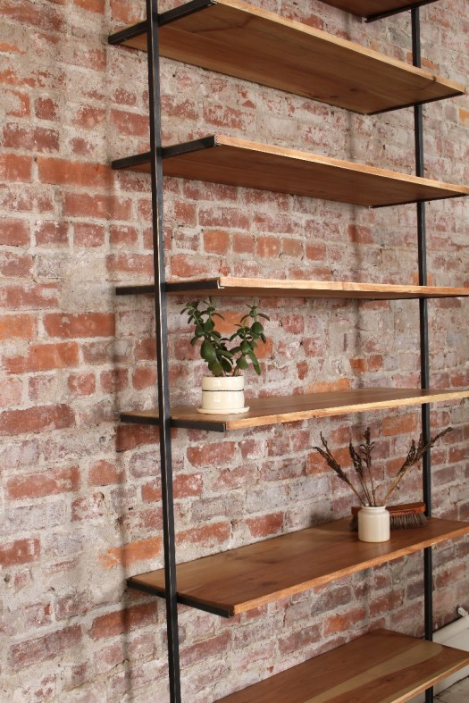 sticks and bricks liz karney custom shelving design steel and wood