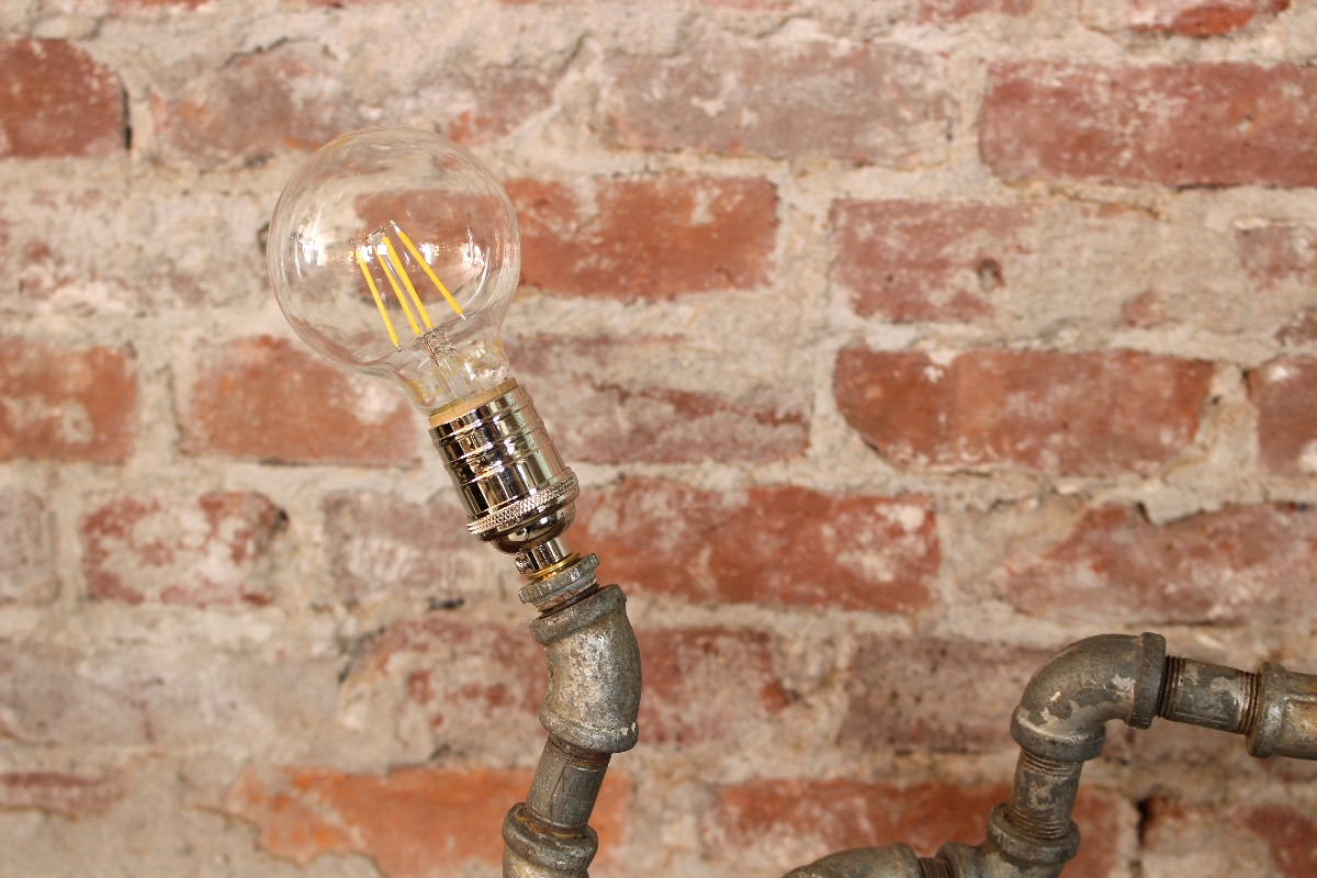 sticks and bricks pipe table lamp unqiue reclaimed lighting
