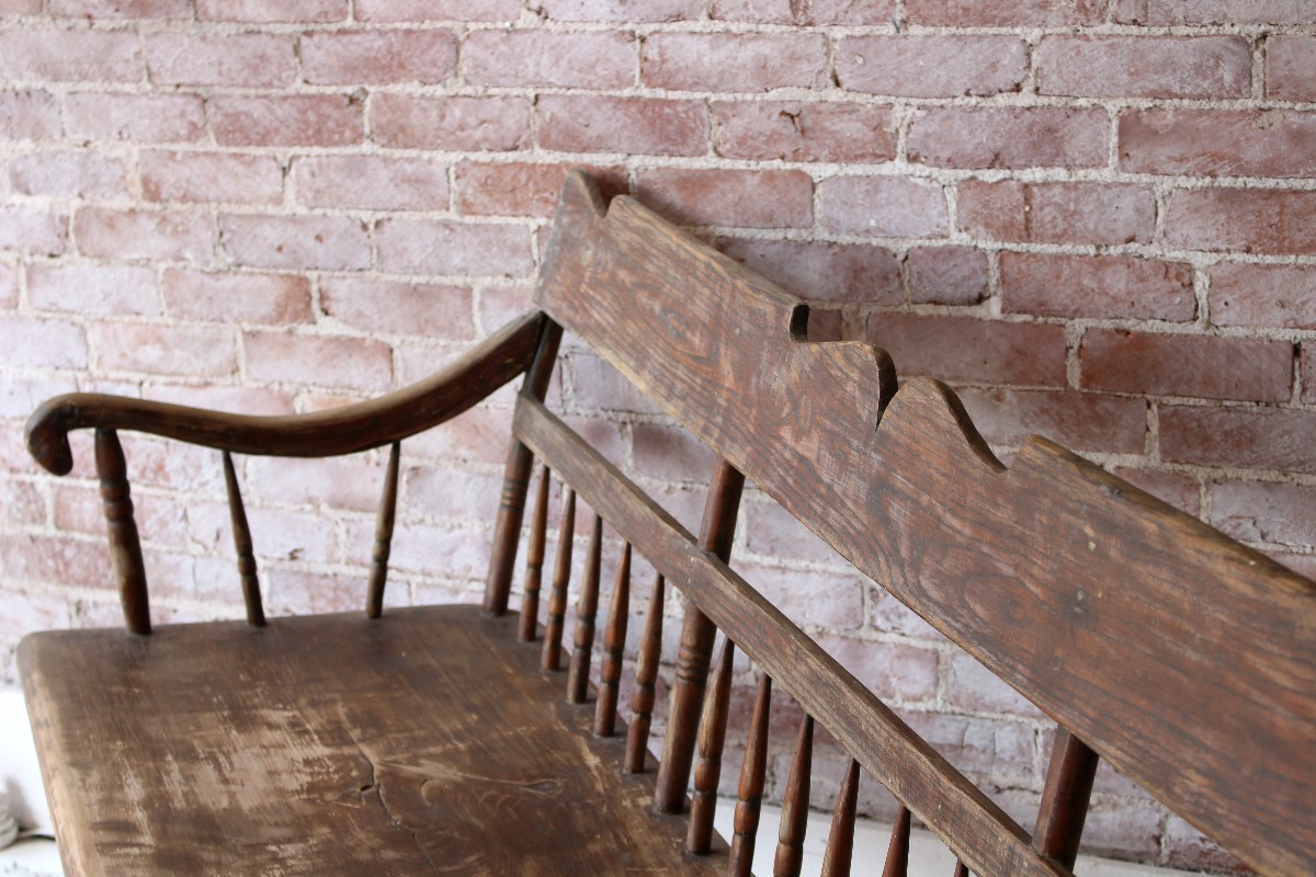 sticks and bricks Vintage Bench on Tapered Steel Legs