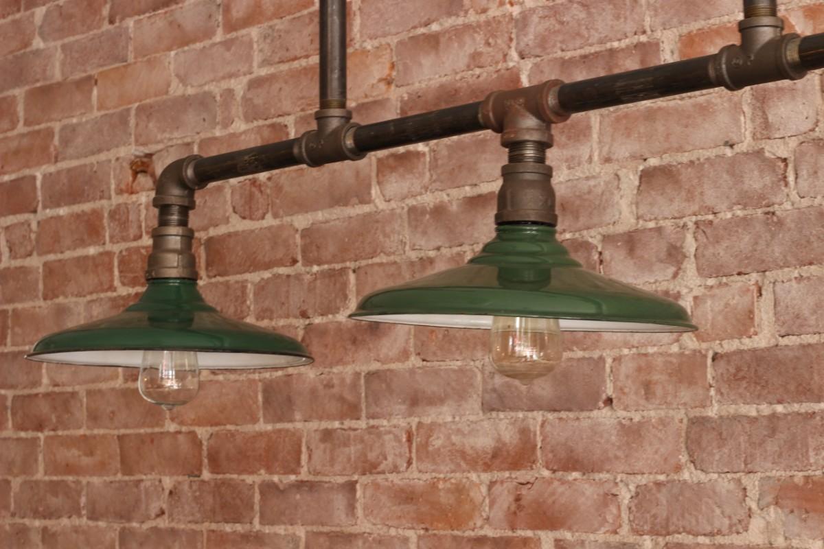 triple enamel pendant light