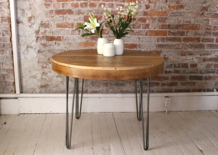 sticks and bricks round table with hairpin legs