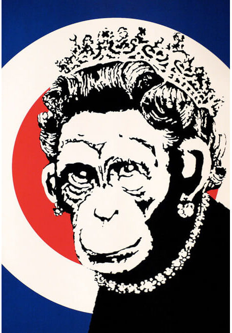 banksy for sale, banksy, stick together, banksy monkey queen