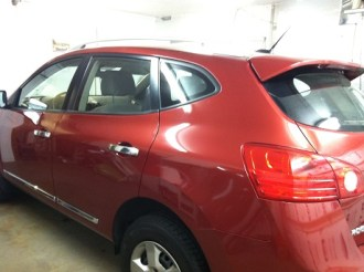 Red Rogue Before Car Window Tinting