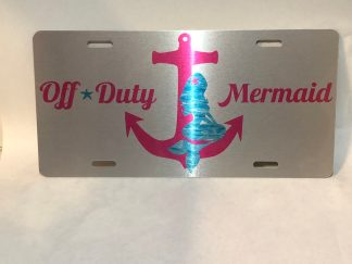 Off Duty Mermaid (pink) silver license plate