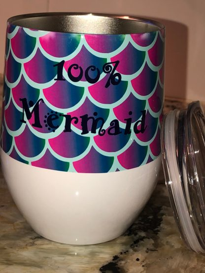 100% Mermaid White Tumbler with Lid