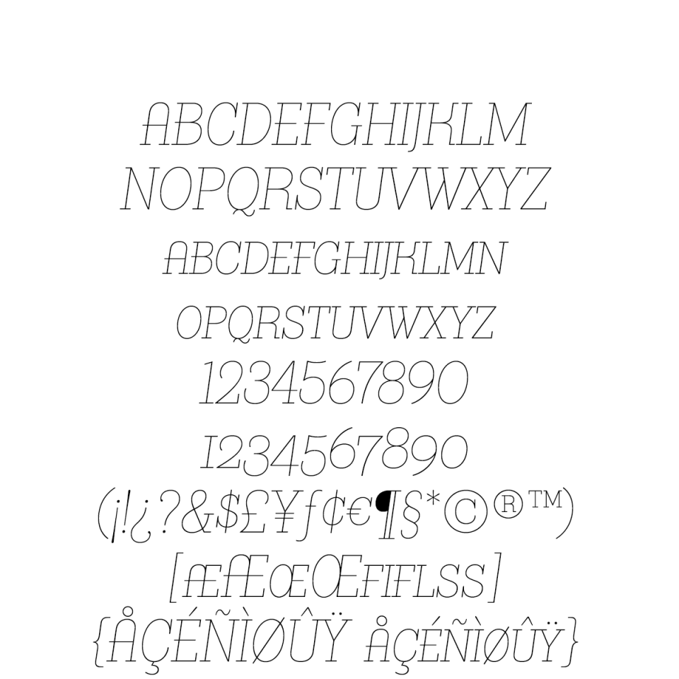Bazaruto Text Monoline Oblique sample character set