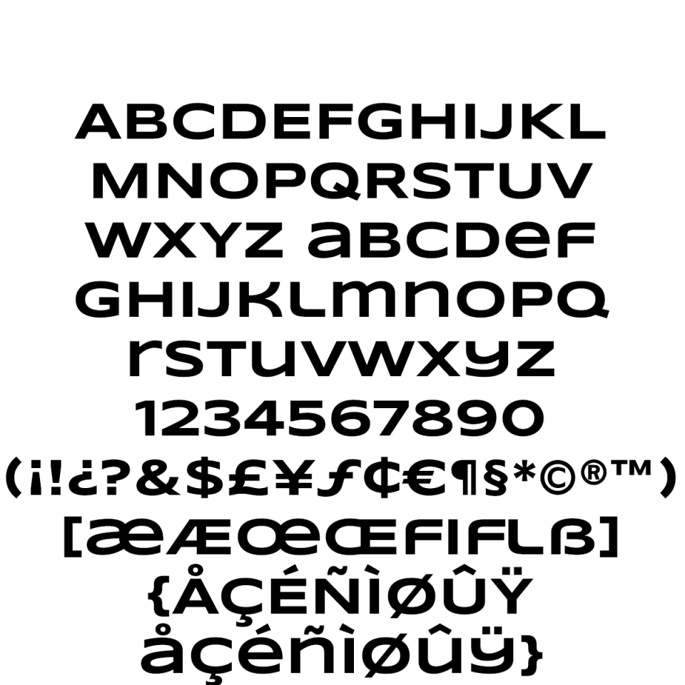 Syncopate Pro Bold sample character set
