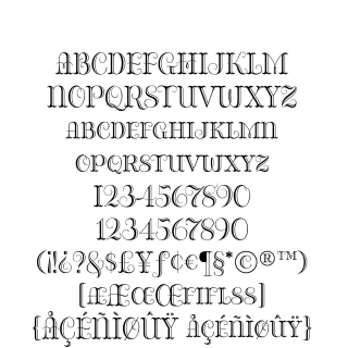 Bazaruto Engraved sample character set