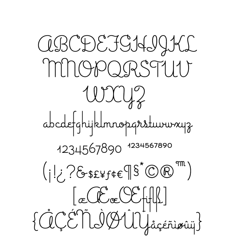 Gimbel Script Character Set sample
