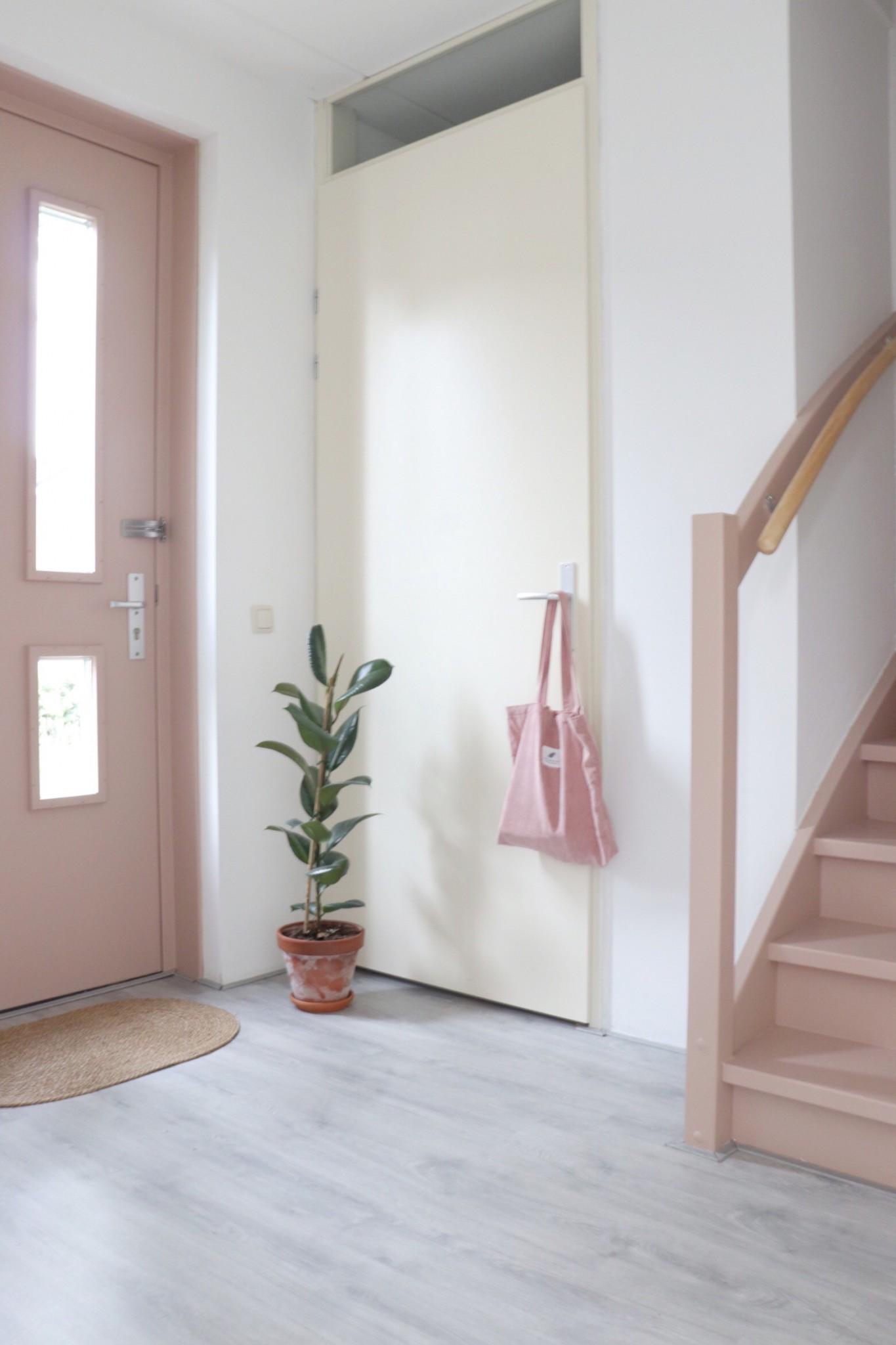 de hal met een roze voordeur en roze trap