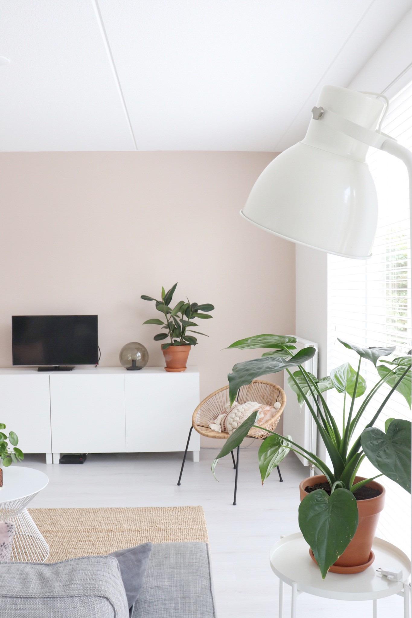 kijkje in de woonkamer met Pink Nudity op de muur.