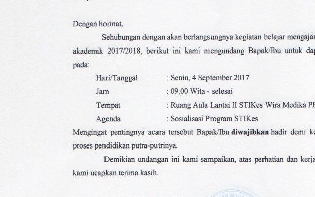 Undangan Orang Tua Calon Mahasiswa Baru 2017/2018
