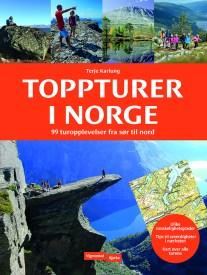 Forsiden av boken Toppturer i Norge med bilder fra ulike turmål landet rundt.