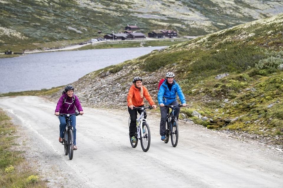 Tre voksne mennesker på sykkeltur på Høvringen i Rondane. Høyfjellsnatur med liten innsjø i bakgunnen.