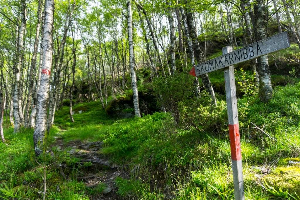 Skilt som viser stien opp til Skomakernibbå.