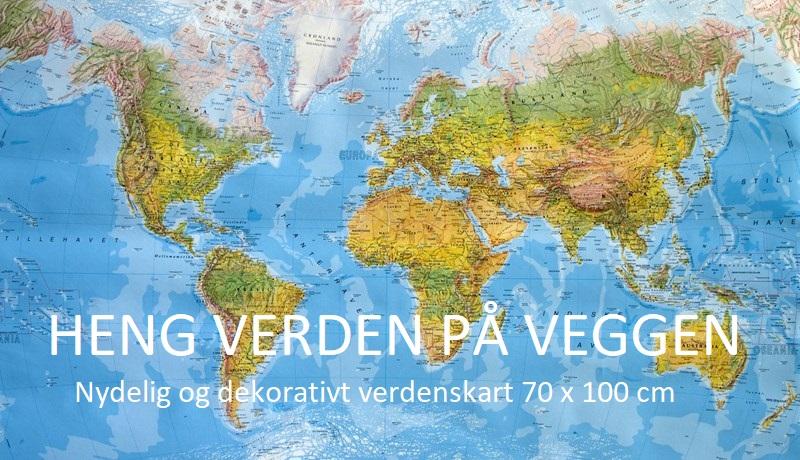 Kart over verden til å henge på veggen.