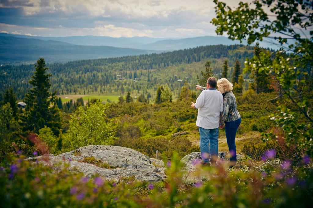 Voksent par står og peker utover Golsfjellet og nyter utsikten.