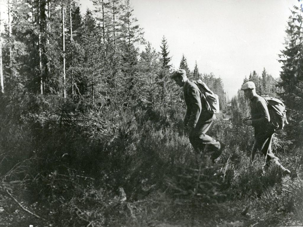 Gammelt sort hvitt bilde av to grenseloser med hver sin ryggsekk på vei gjennom skogen.