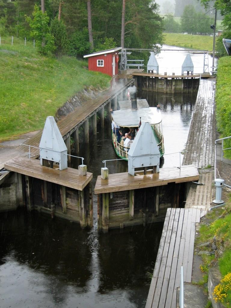 Båter i sluse Østfold Strømsfoss
