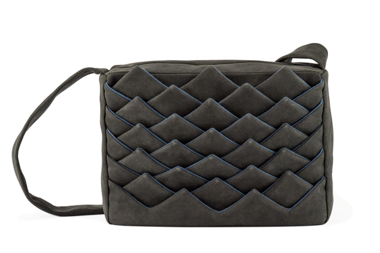 Stil-Stengel Textilkunst Tasche FISH grau blau