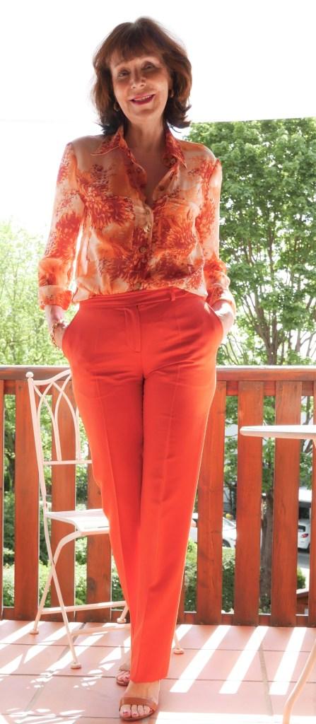 bedruckte Bluse in orange