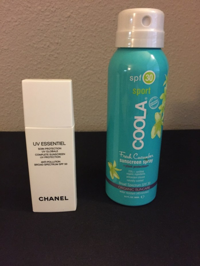 Chanel Sunscreen UV Essentials SPF 50, for face. Coola SPF 30 for body
