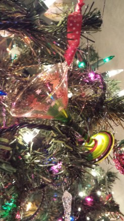 German glass, tinsel, ornaments, Christmas, martini, reindeer