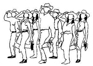line dancing, clipart, writer's block, Monday, S.A. Young