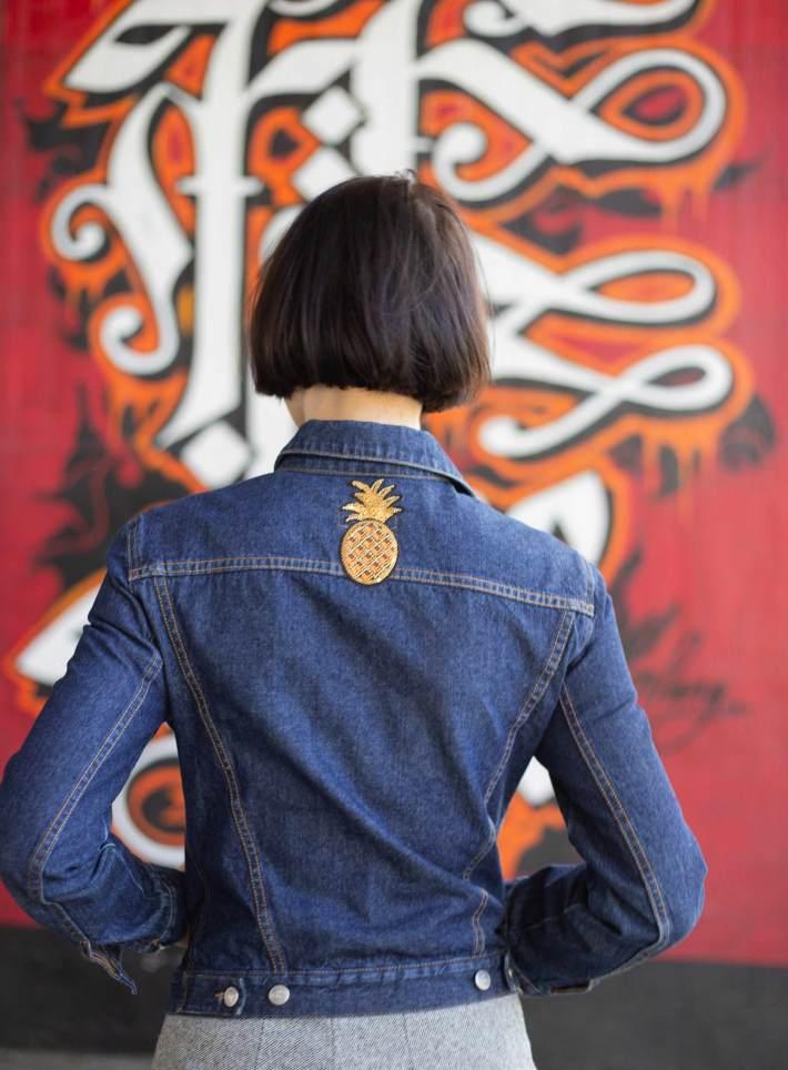 Trend Jeansjacke mit Ananas Print