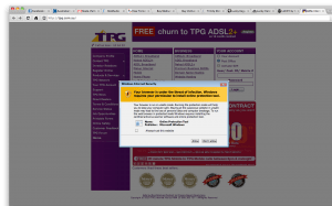 Code injected on top of the TPG website in Google Chrome.