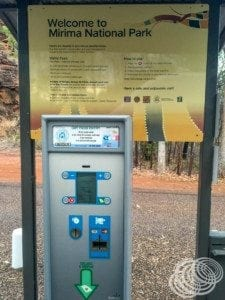 Mirima National Park entry and pay machine