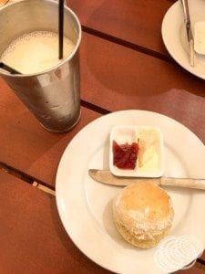 Scones and a milkshake at the Pearl Luggers Cafe