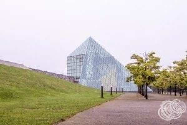 Some of the green space around the Glass Pyramid