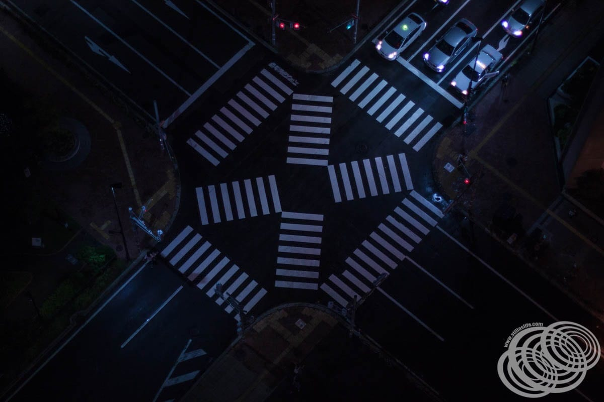 A pedestrian crossing from above.