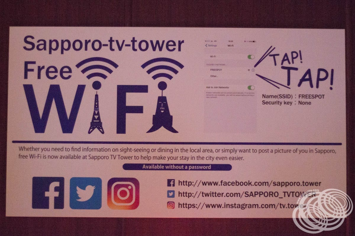 Sapporo TV Tower Free Wifi Details