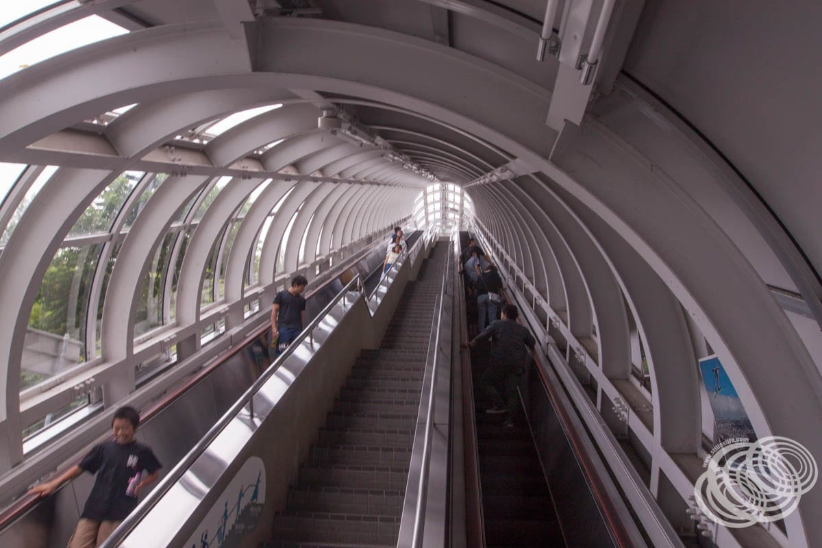 Looking up the escalator tube
