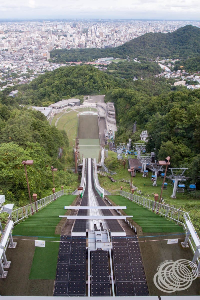 Looking straight down the ski jump from the viewing lounge toward Sapporo.