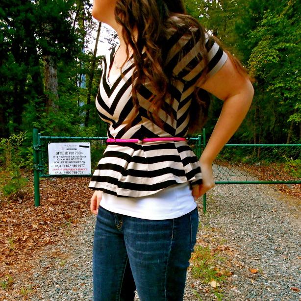 Striped Peplum + Jeans w/ neon belt - still being molly