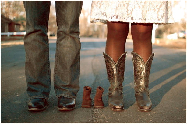 Cowboy boot baby announcement