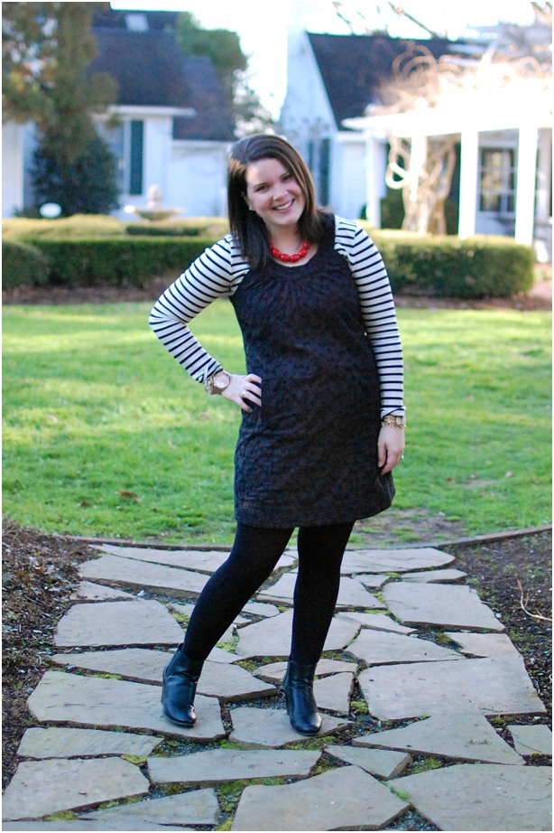 still being molly: summer dress in winter - black dress with striped tee underneath