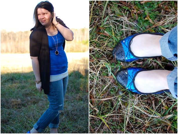 still being molly - maternity style: boyfriend jeans, cobalt tank, black cardigan, glitter flats