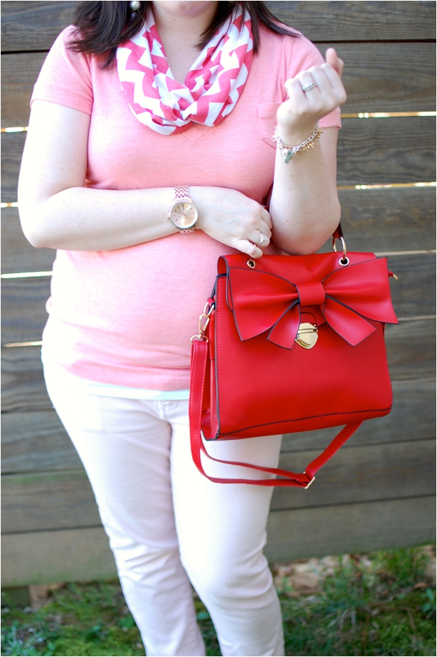 still being molly - maternity style: coral v-neck, pink jeans, chevron scarf, red bow bag