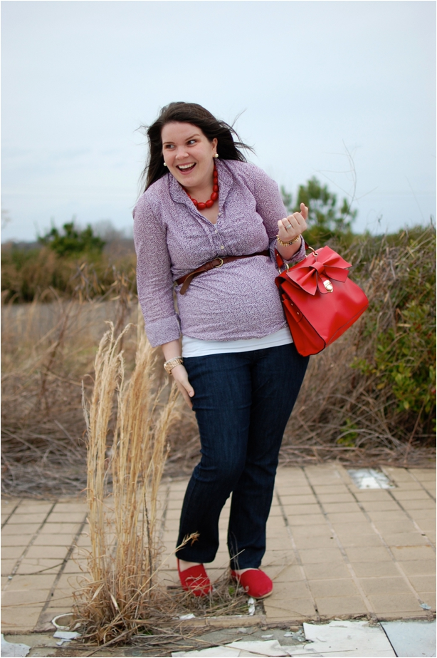 still being molly - maternity style: purple blouse, maternity jeans, red TOMS, red bow bag