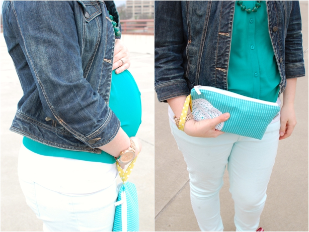 still being molly maternity style: Mighty River Project magazine bead necklace, jean jacket, kelly green blouse, mint jeans