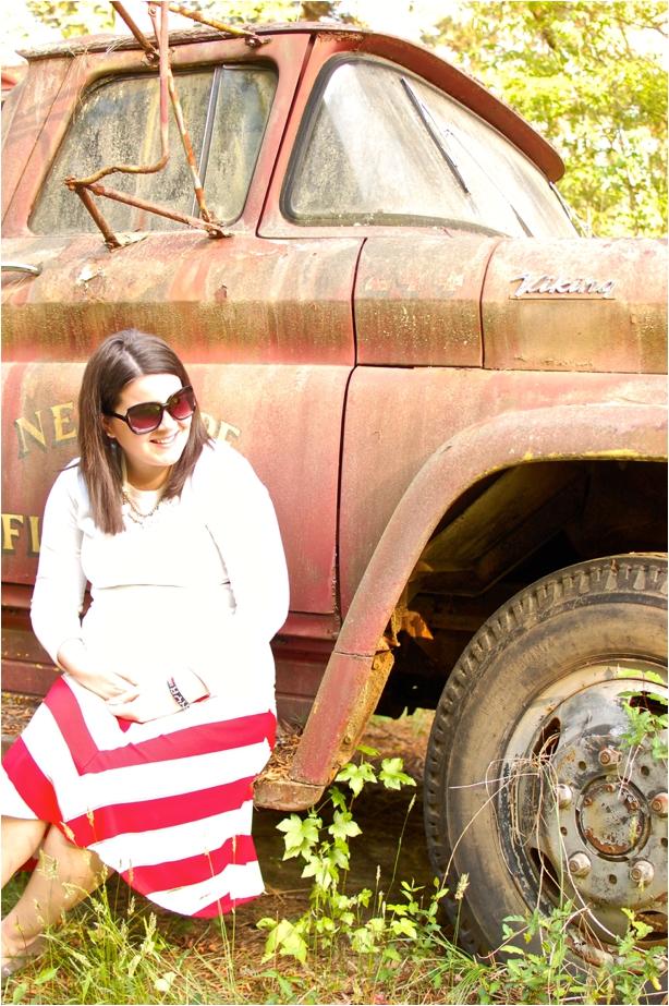 maternity style - red and white cotton chevron skirt, white tee, grey toms, white teardrop bib necklace - North Carolina Fashion Blogger