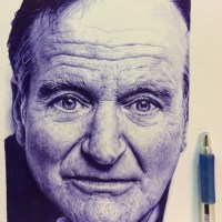 Ballpoint Pen Drawing of Robin Williams by David Chong