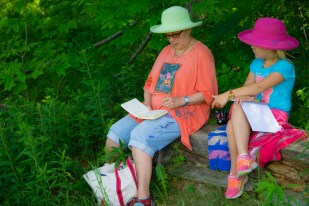 Liz and Lily sketching under an old White Pine. They seem to always know what is important!