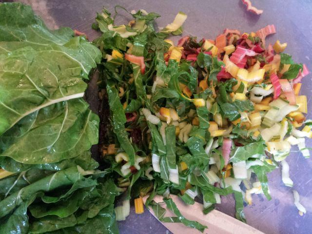 Chopped rainbow chard, use the stems too!